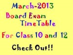 March 2013 Board Exam Time Tables For Class10 And
