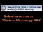 Mnit Jaipur Offers Refresher Course On Electron Microscopy
