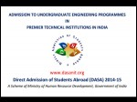 Dasa 2014 15 For Foreign Students Admissions Into Nits Iiits And Cfti