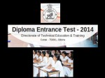 Diploma Entrance Test 2014 Schedule And Exam Centres