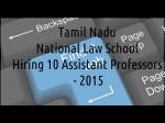 Tamil Nadu National Law School Hiring 10 Assistant Professors