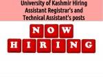University Kashmir Hiring Assistant Registrar Technical Assistant Posts