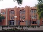 Jamia Hamdard University Apply For Engineering Programmes