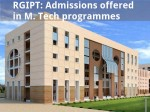 Rgipt Admissions Offered In M Tech Programmes