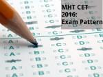 Mht Cet 2016 Exam Pattern