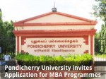 Pondicherry University Invites Application For Mba Programmes