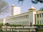 Bit Mesra Opens Admissions For Ph D Programmes