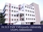 Dr D Y Patil Vidyapeeth University Announces Ug Pg Admissions