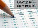 Rmat 2016 Exam Details