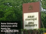 Anna University Admission 2016 Apply For M Sc M Phil