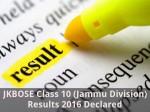 Jkbose Class 10 Jammu Division Results 2016 Declared