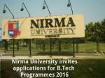 Nirma University Invites Applications For B Tech Programmes