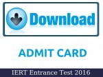 Iert Entrance Test 2016 Admit Cards Available For Download