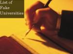Ugcs List Of Fake Universities In India