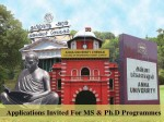 Admissions Open At Anna University For Ms And Ph D Programmes