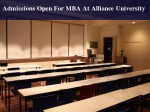 Alliance University Invites Applications For Mba Programme Admissions
