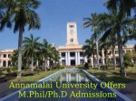 Annamalai University Invites Applications For M Phil Ph D Programmes