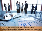 Management Program Sales And Marketing By Iim Lucknow And Niit Imperia