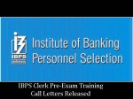 Ibps Releases Clerk 2016 Pre Exam Training Call Letters