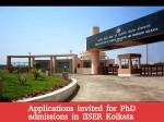 Iiser Kolkata Phd Programs