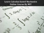 Learn Calculus Based Mechanics With This Online Course From Mit