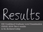 Ssc Combined Graduate Level Examination Cgle 2016 Tier I Results