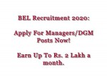 Bel Recruitment 2020 For Managers And Dgm Posts E Mail Applications Before June