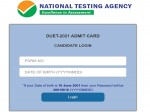 Delhi University Admit Card 2021 How To Download Duet Admit Card