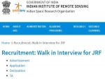 Iirs Isro Recruitment 2021 For Jrf Posts Through Walk In Interview From October