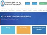 AIIMS Raipur Recruitment 2020 For 142 Senior Residents (Group A) Posts, Apply Online Before December 18