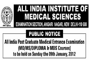 AIIMS Conducts AIPGMEE-2012 on Jan 09
