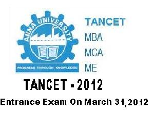 TANCET 2012 Entrance test on March 31