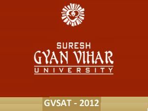 GVSAT-2012 on May 13 By SGVU, Jaipur