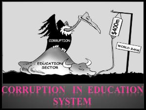 Level Of Corruption In Education Sector