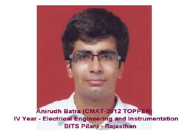 CMAT 2012 Topper- BITS Pilani Student