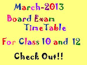 March 2013 Board Exam Time Tables