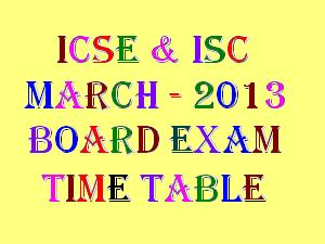 ISC Class 12 March 2013 Time Table