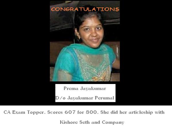 Tamil Nadu Girl Tops CA Exam