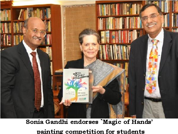 Sonia Gandhi At Painting Competition