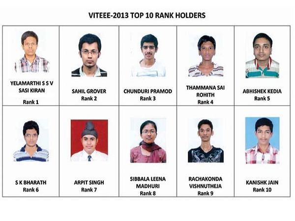 Top 10 rank holders of VITEEE 2013 exam