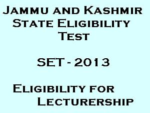 J&K SET 2013 entrance exam on 18 August