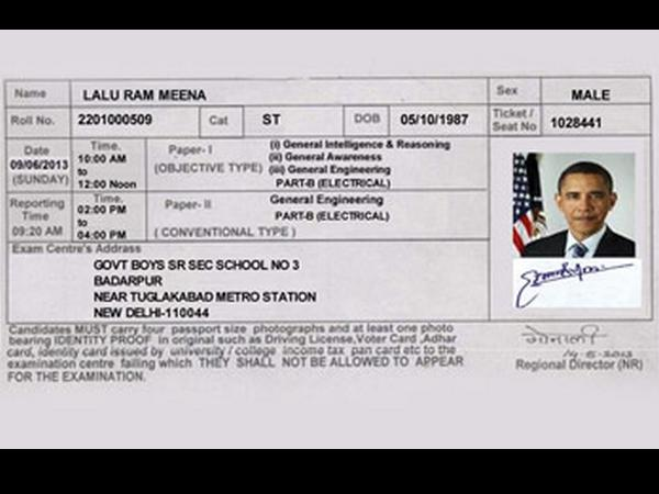 An Admit Card with Obama's Photo!!