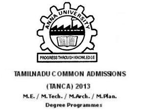 Anna University TANCA 2013 Admissions
