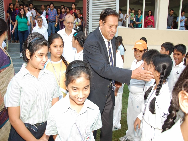 Mr Chandu Borde with students of GIIS