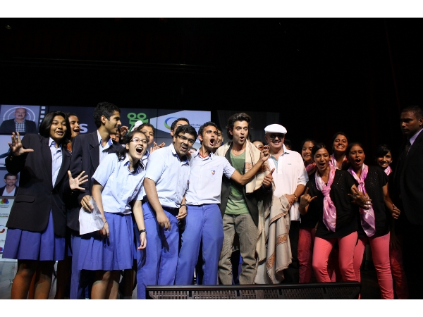 Hrithik Roshan with ecstatic GIIS students at GIIS Leadership Lecture Series