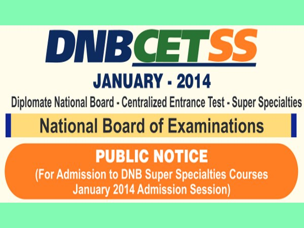 NBE Conducts DNB CET SS 2014 on 23 Nov