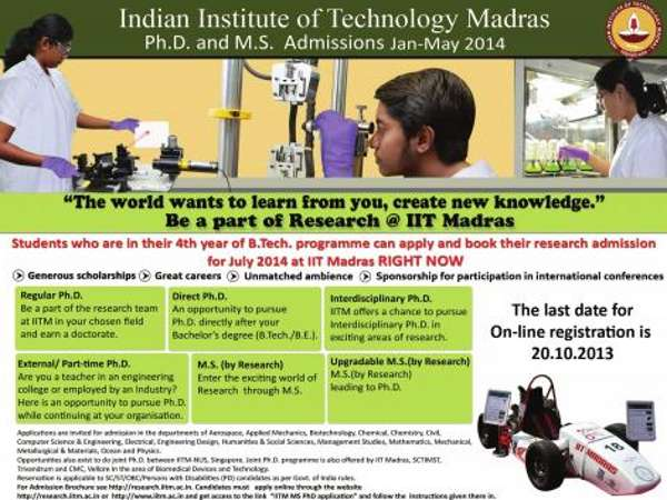 M.S and Ph.D Admission at IIT, Madras