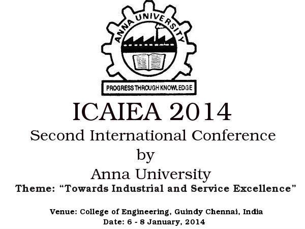 Anna University hosts ICAIEA 2014