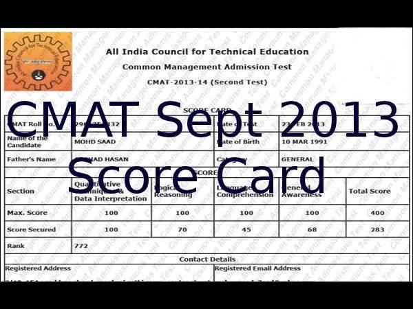 Download CMAT September 2013 score card