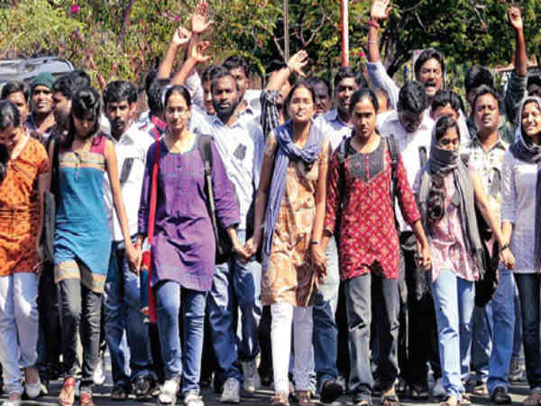 University of Hyderabad students on protest